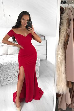 Off the Shoulder Prom Dress, Prom Dress with Sleeves, Mermaid Red Formal Dresses Red Formal Dresses, Prom Dresses With Sleeves, Dress Prom, Formal Gowns, Affordable Prom Dresses, Satin Color, Elastic Satin, Off The Shoulder, Evening Dresses