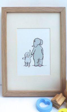 Baby room decor walking elephants illustration by mylovebubble