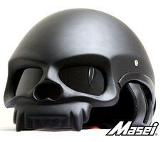 MASEI MATT BLACK SKULL 419 MOTORCYCLE CHOPPER DOT HELMET