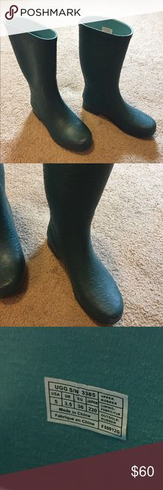 Green UGG rain boots Green UGG rain boots in great condition UGG Shoes Winter & Rain Boots