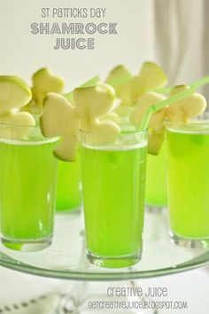 SHAMROCK JUICE -you need:   1 part pineapple juice,  1 part sparkling lemonade, 1 part sparkling white grape juice cut the lime popsicles into cubes , &  slice a thin cut of apple & then use a shamrock shape cookie cutter  add to the side of the glass & you are good to go!  TIP: to avoid the apple browning, spritz a little lime/lemon juice on it and  prep the drink close to party time