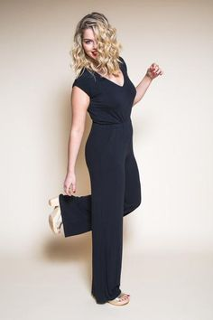 Easy glamour: a comfy knit jumpsuit in classic black - https://store.closetcasepatterns.com/products/sallie-jumpsuit-pattern-maxi-dress-sewing-pattern