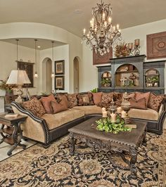 If you are having difficulty making a decision about a home decorating theme, tuscan style is a great home decorating idea. Many homeowners are attracted to the tuscan style because it combines sub… Tuscan Living Rooms, Home Living Room, Living Room Designs, Living Room Decor, Living Area, Dining Room, Tuscan Style Homes, Tuscan House, Tuscan Garden
