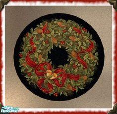 kittyispretty69's Christmas Round Rug Set-Christmas Wreath