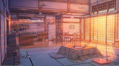 anime sunset living kitchen scenery arsenixc deviantart landscape backgrounds casa environment episode