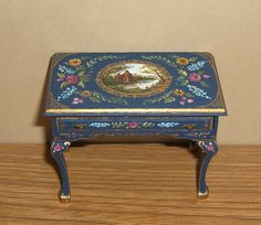 Dollhouse Miniature Hand Painted Victorian Table Landscape Floral OOAK | eBay