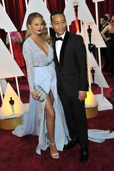 Chrissy Teigen in Zuhair Murad with John Legend in Gucci on the Oscars 2015 Red Carpet. [Photo by Donato Sardella]