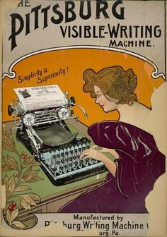 Very rare Art Nouveau poster for an equally rare Pittsburg Typewriter.