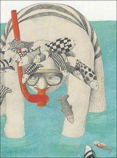 Verano, playa - Ilustración Helga Bansch