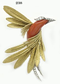 Retro Magnificent coral, diamond, gold and platinum humming bird brooch. Sterlé, Paris.
