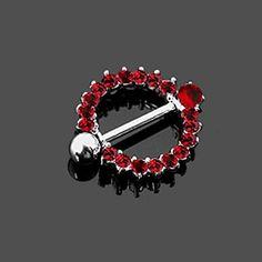 Body Accentz Nipple Rings 316L Stainless Steel Broken Heart Bar Shield Pair