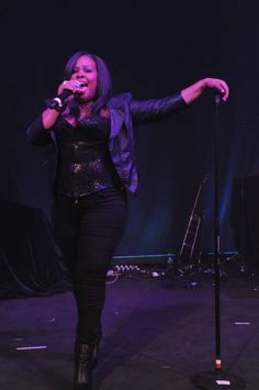 Amber Riley rocking the house during Perez Hilton's birthday party on March 25, 2012.
