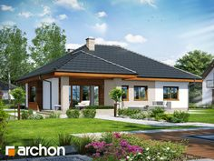 Dom pod jarząbem 15 (T) Single Storey House Plans, Small House Plans, House Floor Plans, Modern Bungalow House, House Plans 3 Bedroom, One Story Homes, Roof Design, Story House, Facade House
