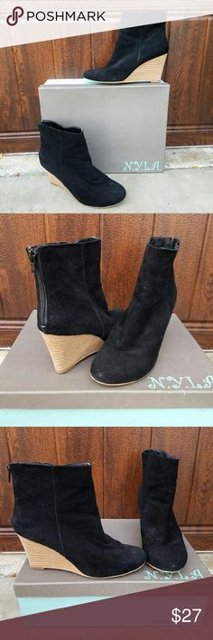 N.Y.L.A. Wedge Suede Booties Cute N.Y.L.A. black genuine suede booties with natural colored wedge heel. These have only been worn once or twice. Pair with jeans. N.Y.L.A. Shoes Ankle Boots & Booties