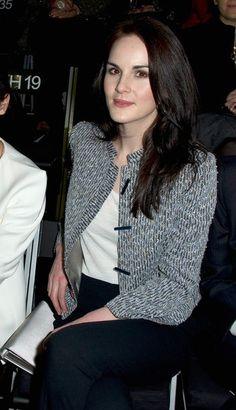 Embellished print jacket, black pants