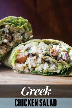 This easy, healthy Greek Chicken Salad combines juicy cooked chicken breast, creamy hummus, tangy sour cream, tart Kalamata olives and salty Feta for tasty spin on the classic lunch recipe. Easy Sandwich Recipes, Easy Salad Recipes, Lunch Recipes, Appetizer Recipes, Healthy Recipes, Summer Recipes, Healthy Meals, Cooked Chicken, How To Cook Chicken