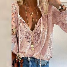 Summer Women Blouses Elegant V Neck Bottoming Long-sleeved Pink Shirt Lace Hook Flower Hollow Casual Shirts Blouse Plus Size 3XL Long Sleeve Tops, Long Sleeve Shirts, Blouses For Women, Casual Shirts, Pink, Sleeves, 50 Style, Boho Style, Summer Clothes