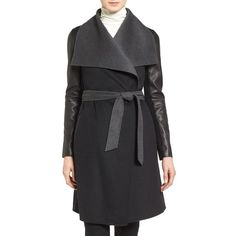 Women's Mackage Leather Sleeve Wool Blend Wrap Coat (605 CAD) ❤ liked on Polyvore featuring outerwear, coats, mackage coats, reversible coat, waist belt, leather sleeve coat and wool-blend coat