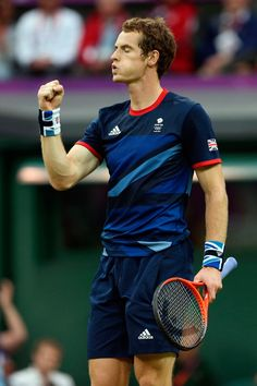 London 2012 - Team GB's Andy Murray seals a win over Jarkko Nieminen of Finland in the second round of Men's Singles Tennis at Wimbledon.  2012 Getty Images