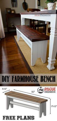 DIY Farmhouse Bench Plans -Free Plans   rogueengineer.com #FarmhouseBench #DiningroomDIYplans
