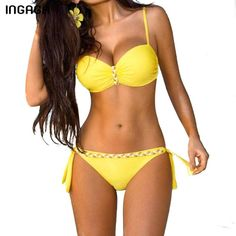 6a498999f5800 INGAGA Bohemian Bikini Set Push Up Swimwear Women Strap Bandage Swimsuit  Bathing Suits Summer Beach Bathing Suits XXXL