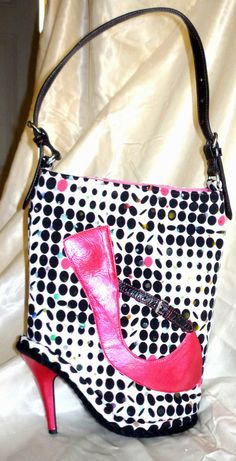Shoe Purse Black & White Polka Dot  Fashion Upcycled  by junquete, $94.00
