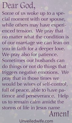 Prayer Of The Day – Patience Towards My Husband by @unveiledwife