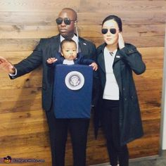 President of the United States and Secret Service Costume - Halloween Costume Contest Halloween Costume 8 Month Old, Newborn Halloween Costumes, Baby Girl Halloween, Family Costumes, Couple Halloween, Baby Costumes, Halloween Cosplay, Halloween Ideas, Happy Halloween