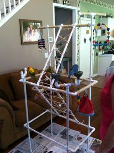 Bird Play stand...made with PVC. Very cool how they created the climbing/step areas!