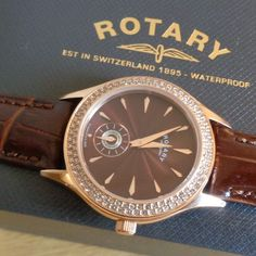 £65 - Rotary LS02907-16 Ladies Waterproof Brown Dial Leather Strap Watch with Crystals.  NEW & Boxed RRP: £159.00   Swiss made ladies unique Rose Gold plated brown le