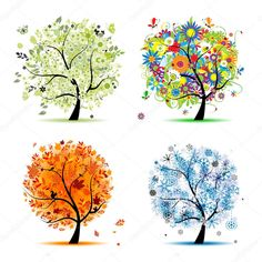 Four seasons - spring, summer, autumn, winter. Art tree beautiful for your design Clip Art Diy Canvas Art, Canvas Art Prints, Four Seasons Art, Trees For Kids, Winter Trees, Winter Art, Mermaids And Mermen, Purple Butterfly, Flowering Trees
