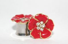Beautiful Red And Gold Crystal Flower Plugs 0G by arksendeavors, $40.00