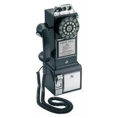 Téléphone mural rétro - Téléphone décoratif - Noir - Balvi