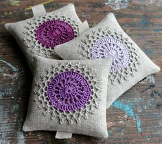 Lavender sachets -- crochet motif -- set of 3. $27.00, via Etsy.