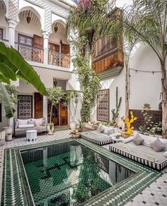 Le Riad Yasmine is a boutique hotel built based on ancient plans where the stunning pool is carved by hand! It is located in - Architecture and Home Decor - Bedroom - Bathroom - Kitchen And Living Room Interior Design Decorating Ideas - Le Riad, Riad Marrakech, Marrakech Travel, Morocco Travel, Exterior Design, Interior And Exterior, Ikea Interior, Interior Garden, Interior Doors