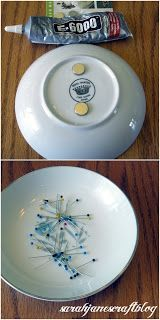 DIY magnetic pin dish ~~It needs to have a bit of a lip around the edge so that pins can't be bumped off the dish and have a little ridge on the bottom so that it would still sit flat after magnets are glued on. She used two neodymium magnets purchased at a craft store.