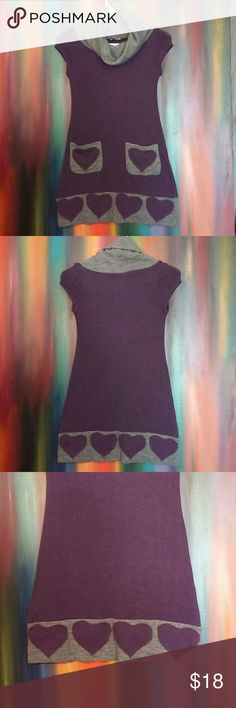 Blue Sands Dress Gray & Purple knit cowl neck dress w/ straight functional pockets @ front with heart design. Heart design along trim. Cap sleeve. Great condition. No stains/pulls. Blue Sand  Dresses Midi