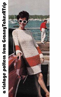 Vintage 1960s Knit Pattern Pdf Big Knit SWEATER DRESS TUNIC Easy Quick Knit Sizes S, M, L 0100. $3,00, via Etsy.