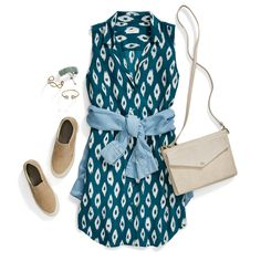 Dress down a printed shirtdress with casual slip-on sneakers & a chambray shirt tied at the waist.