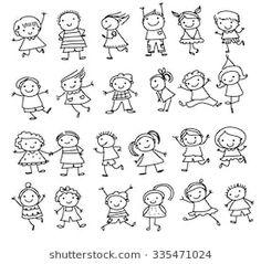 Group of kids,drawing sketch