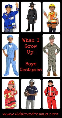 """Check out these super fun boys costumes that celebrate careers and role play """"When I Grow Up!"""" Get them inspired and actively playing GREAT games! Boy Dress Up Clothes, Dress Up Outfits, Diy Dress, Dress Up For Boys, Kids Dress Up Costumes, Kids Costumes Boys, Boy Costumes, Toddler Costumes, Halloween Costumes"""