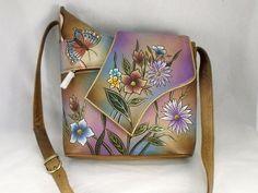 Sova Hand Painted Leather Cross Body Purse, Shoulder Bag Genuine Leather  Floral e1b123a2ec