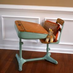 Home School Is Cool. Vintage Turquoise Aqua Elementary School Storage Desk And…