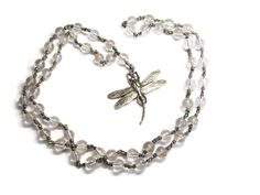 Dragonfly Rock Crystal Pools of Light Sterling Necklace