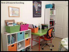 My Homeschool Room for Photography Classes, School Hacks, Homeschooling, Corner Desk, Work Stations, Unit Studies, How To Plan, Rooms, Furniture