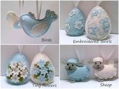 Felt easter decoration - white baby blue felt eggs with flowers / set of 2 decorated eggs - choice of designs Listing is for 2 ornaments Size of my decorated eggs is about 2 1/8 x 2 5/8 inch (5,3 x 6,5 cm) This is size of felt egg without hanging loop Handmade from wool blend and wool felt Background color is Baby blue and white. This is made to order listing You can choose decoration of eggs: - forget me not flowers (set of 2) - swirls and flowers (set of 2) - tiny flowe...