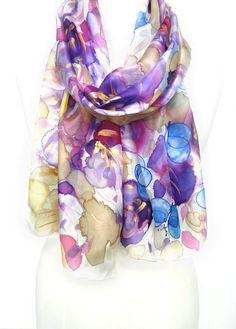 Purple Silk Scarf. Hand Painted Shawl. Butterflies Scarf. Women Echarpe Foulard. Birthday Gift for Her.