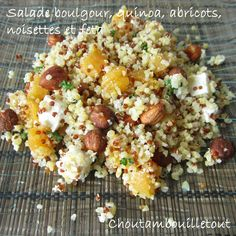 Bulgur salad, quinoa, apricots, hazelnuts and feta - Recettes - Salade Fruit Snacks, Healthy Snacks, Healthy Recipes, Quinoa Salad Recipes, Salad Dressing Recipes, How To Cook Quinoa, How To Cook Pasta, Vegetable Slow Cooker, Damascus