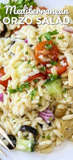 This Mediterranean Orzo Salad is a hit every time I make it! With orzo tomatoes cucumbers artichoke hearts feta and olives all tossed in an easy Greek dressing it's simple to prepare and tastes delicious. Greek Orzo Salad, Greek Pasta, Pasta Salad Italian, Pasta Salad With Spinach, Mediterranean Pasta, Mediterranean Diet Recipes, Olives, Orzo Salad Recipes, Recipes With Orzo Pasta