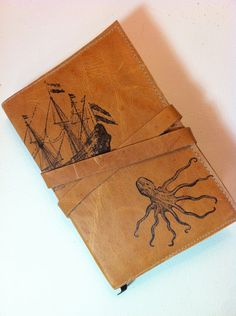 leather journal sketchbook handprinted for you custom by inblue
